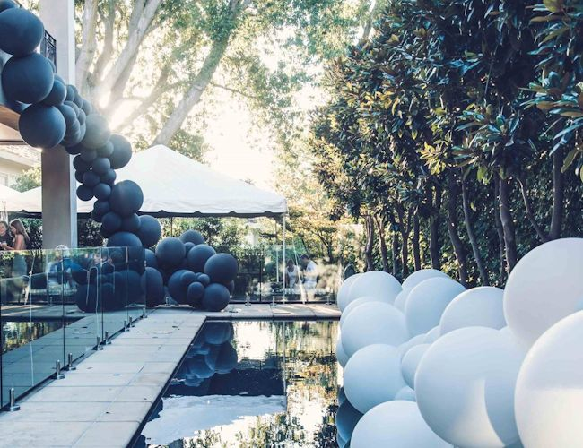 black and white pool decor 21st-birthday